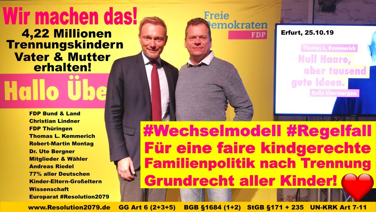Beide Stimmen #FDP Thüringen! 💞  #Wechselmodell #Regelfall 👏 Unfassbar: Die LINKEN, SPD, Bündnis90/Grüne & CDU/CSU agieren noch immer GEGEN die Kindesinteressen auf Erhalt beider Eltern unabhängig vom Trauschein! Das ist GRUNDGESETZWIDRIG!😠 https://t.co/gOCa5OrKOh #ltwth19 https://t.co/gbFZN36Nw3