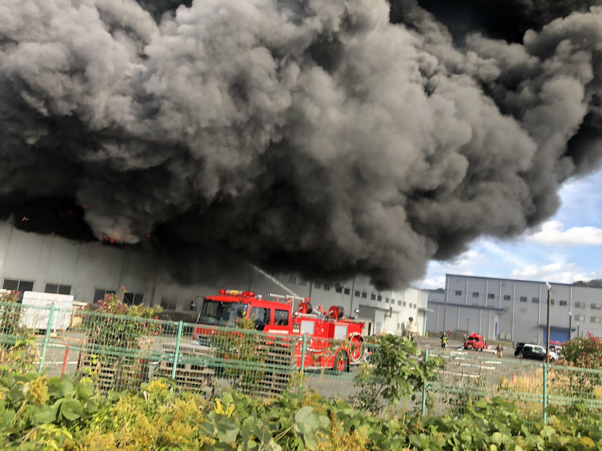鳥取市船木の工場火災の現場の画像