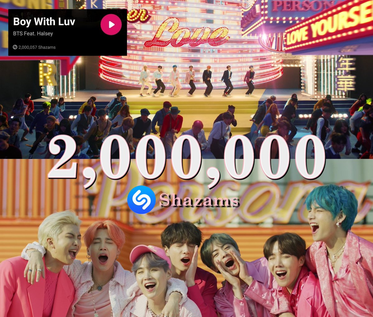 '#BoyWithLuv' has surpassed 2M on Shazam in 212 days. It is @BTS_twt's 2nd fastest song to surpass that mark!  They remain the korean act with the most songs to surprass this mark on the plataform   #BoyWithLuv2MShazams <br>http://pic.twitter.com/8e9estjeEx