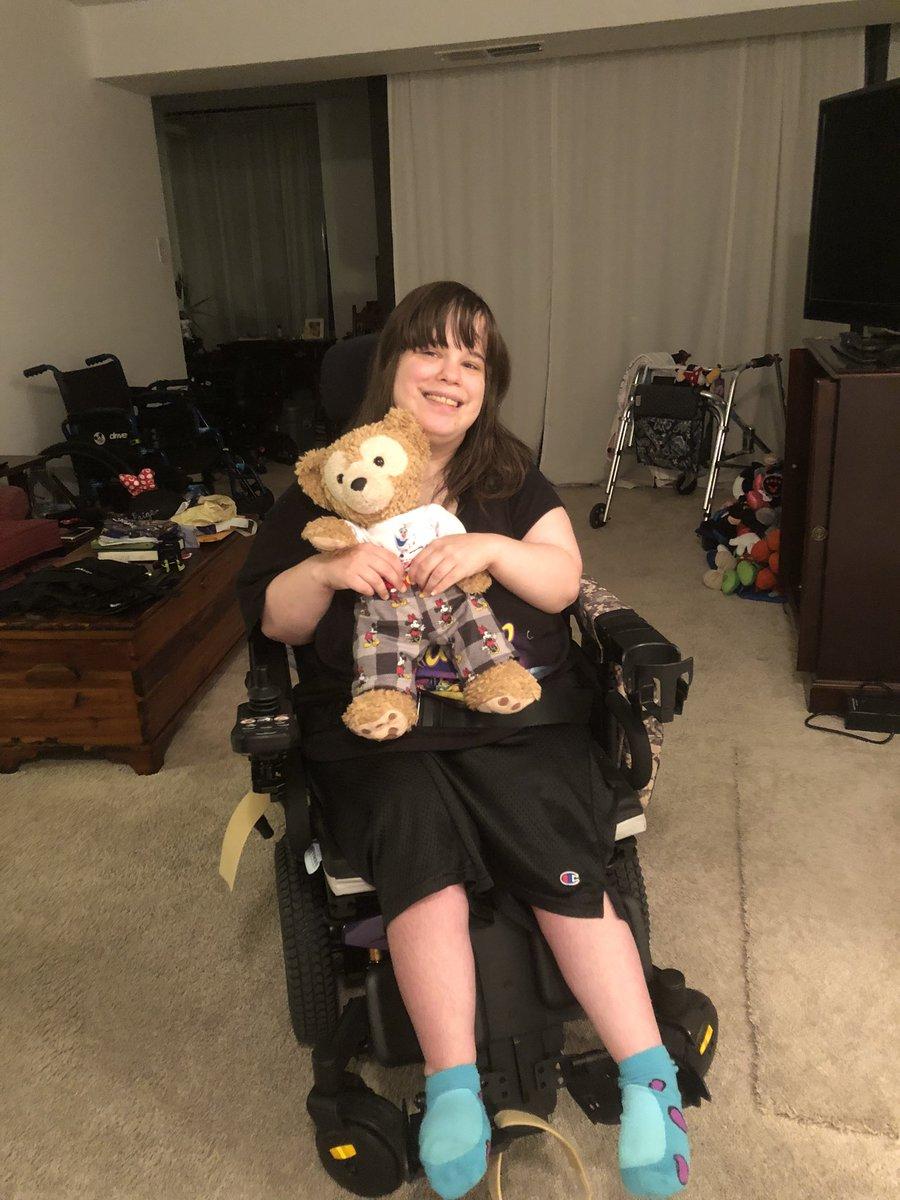 Me and mommy in her power wheelchair 🦼  I love her new power wheelchair I can't wait go with her out in public 💜🧸💜 #Selfie #disabilityawareness #duffythedisneybear #disneyworld #powerwheelchair #CerebralPalsy