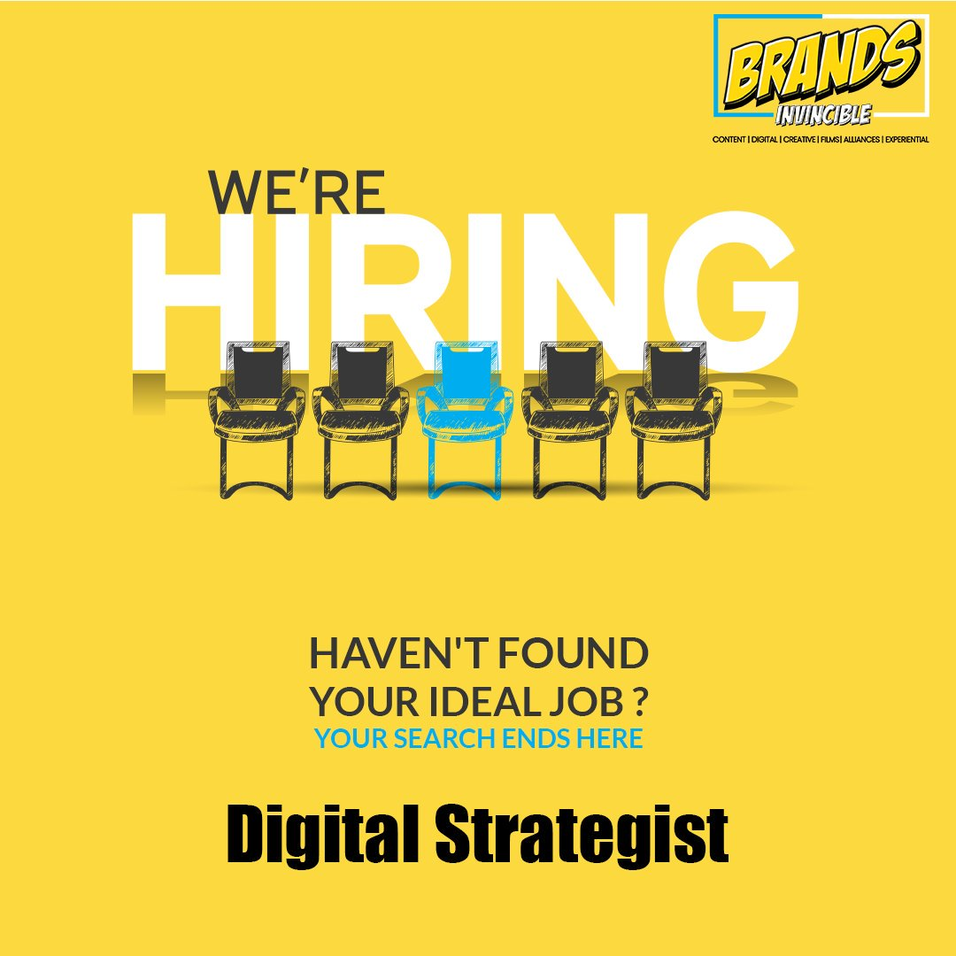 Calling All Digital Strategists; Come build your future with Brands Invincible! #digitalstrategist #digitalmarketingmanager #Digital #Digitalmarketing #Films #Creative #Events #StrategicAlliance  #Ads #brandsstories #Creativity #Digitalstorytellers #BrandsInvincible #Gurgaon<br>http://pic.twitter.com/nLWsdjkUvS