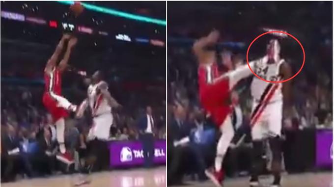 【影片】這一腳什麼水平?CJ撤步跳投腳踢人臉被吹一級惡犯,野球場這下得挨揍!