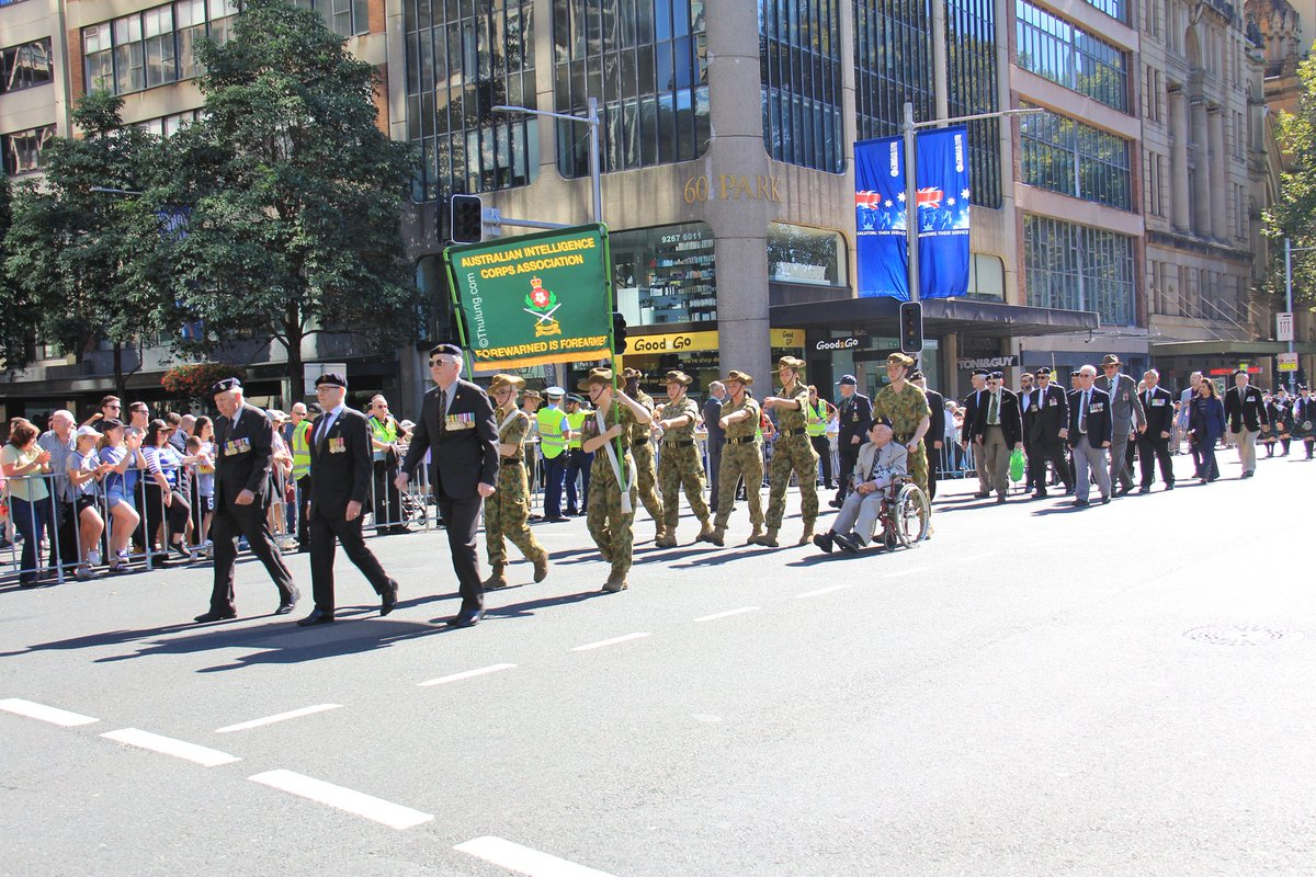 Australian Military Intelligence marching on Anzac Day in Sydney.