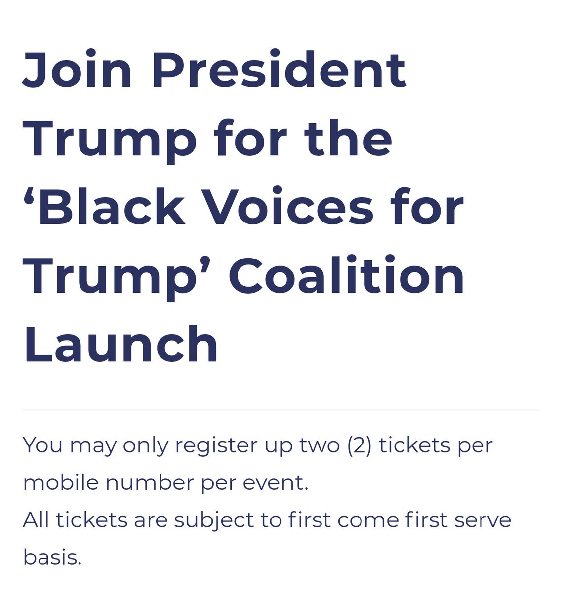 """Hey Atlanta,    Donald Trump is giving away tickets for his """"black voices for Trump"""" event  tomorrow. I strongly recommend that everyone get a ticket for this event, and tell your friends to get tickets too ;). Feel free to share this post! https://www.donaldjtrump.com/events/bvft-nov-2019?utm_medium=email&utm_source=ET_686&utm_campaign=20191107_17622_rally-invite-bvft_teamtrumppence_djt&utm_content=djt_rally_text_rsvp_top_none_all&fbclid=IwAR1i2mfYuTzFs5gptCJcOyYNfHf1SKRwAchiHVSq6RkGwnmVaYQrXcMxT2s…"""