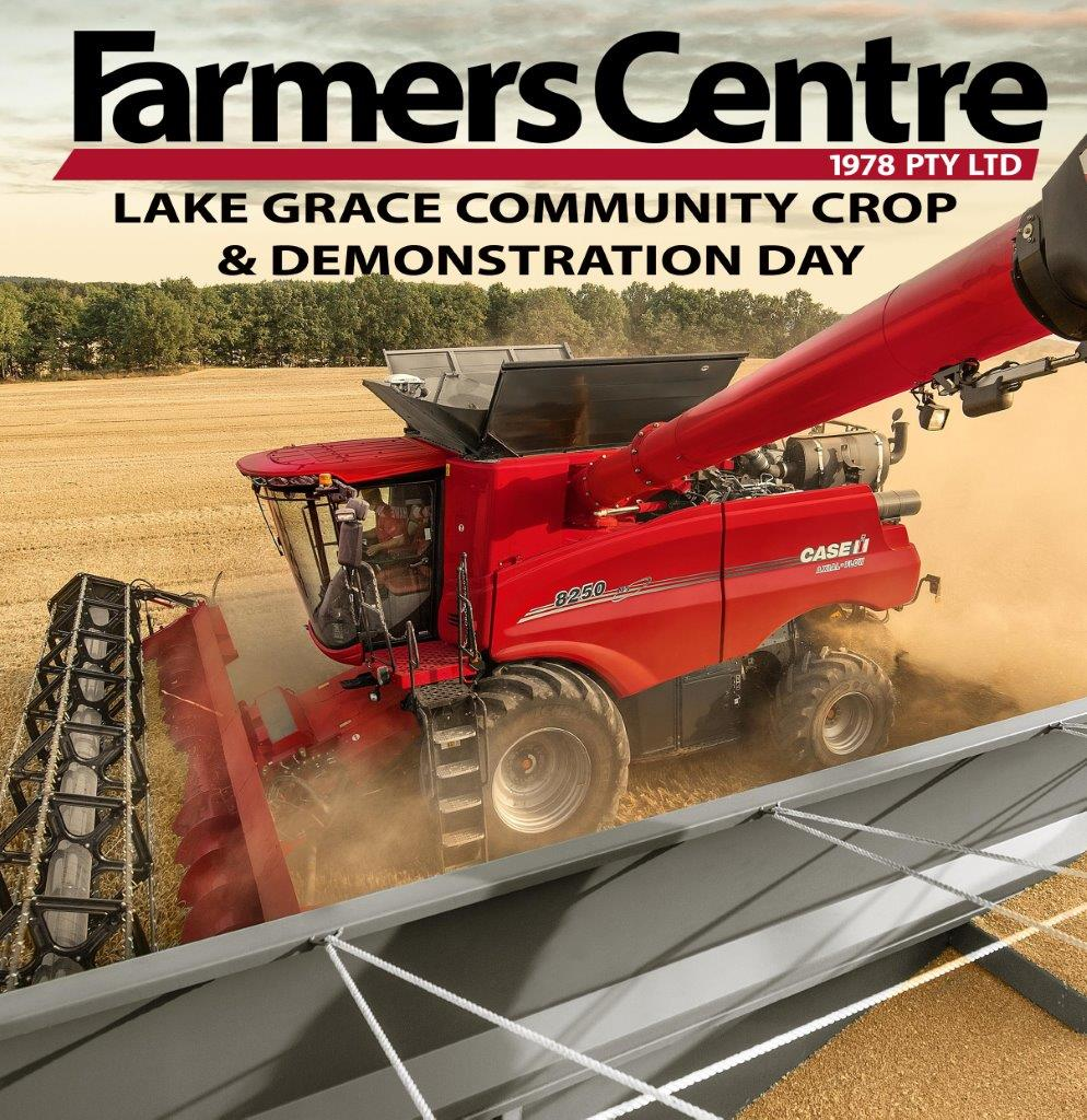 Farmers Centre is proudly attending harvest at the Lake Grace Community Crop on Wed 13th & Thurs 14th November 2019 from 10am demonstrating the new 250 series Axial Flow Combine. Cnr Willcocks Road and Cummings Road, Lake Grace #Harvest19 #RethinkProductivity #LakeGrace #CaseIH https://t.co/bCiH6ly3cy