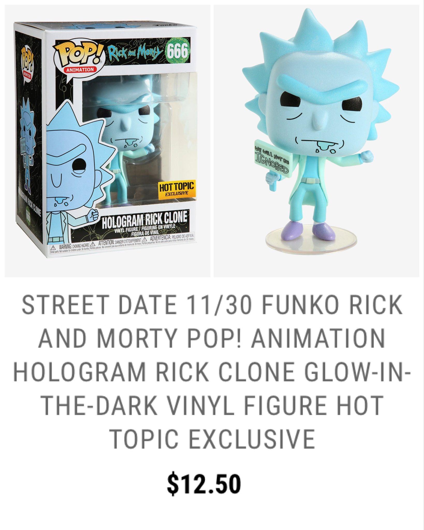 Hologram Rick Clone Funko Pop Vinyl Rick and Morty Hot Topic Exclusive GITD