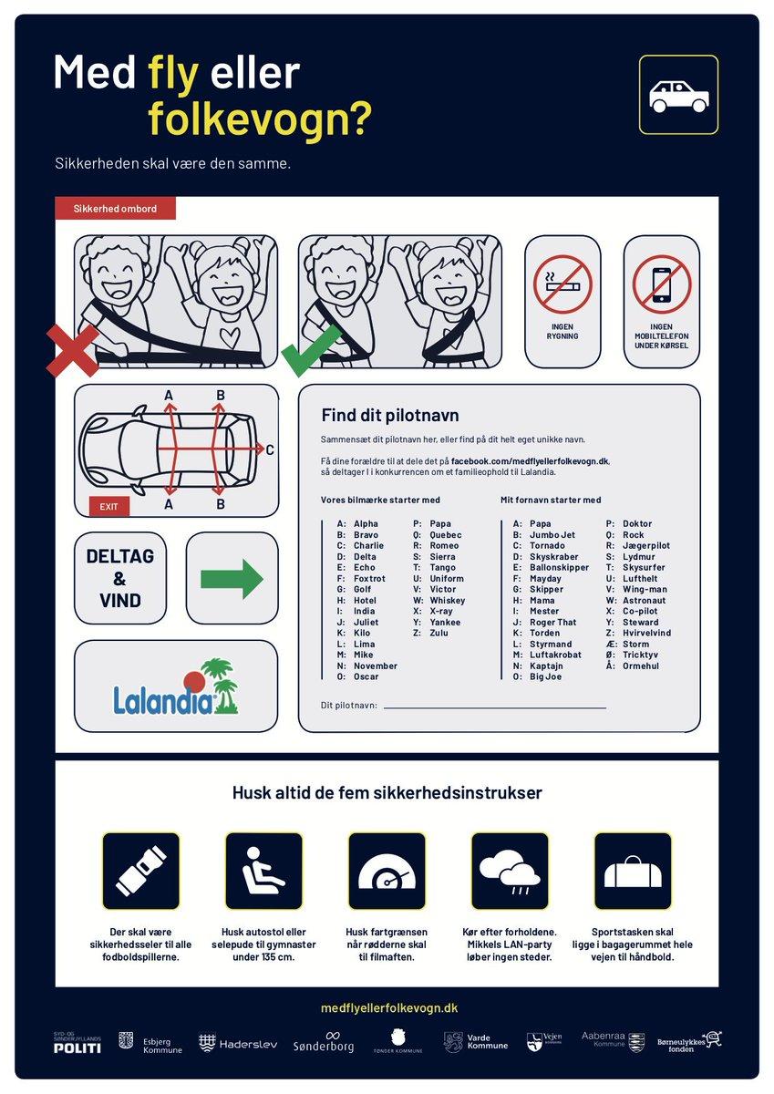 #medflyellerfolkevogn. Skal du køre egne eller andre børn, så gennemgå sikkerhedskortet før take off! Se mere på https://t.co/E7HNU3N2oR og FB #politidk https://t.co/juS5YVdGRT