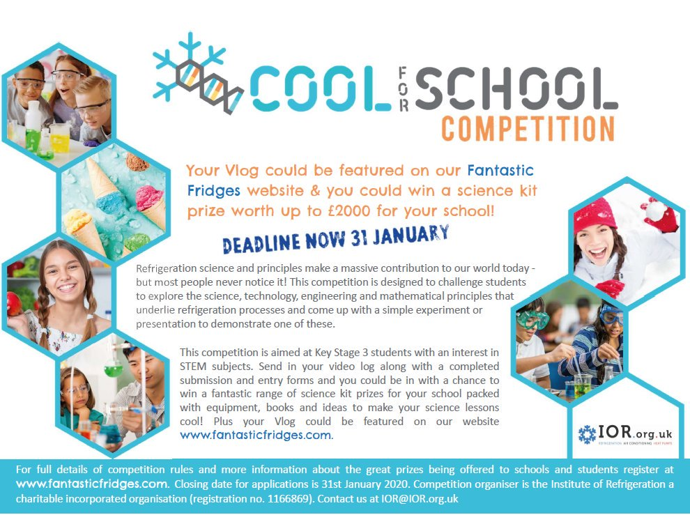 We have a new flier to share with schools, teachers and student! Help promote #hvacr careers and support #science #teaching in schools with fantasticfridges.com #WRefD #wrd19 @WorldRefDay @WomeninRACHP @RACMagazine @CoolingPost @ACRNews @ACRJournal