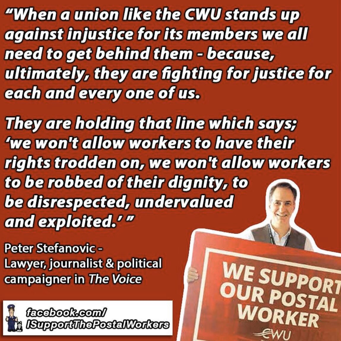 Royal Mail boss is taking @CWUnews to court to try & overturn a strike ballot which won a 97% yes vote! Our postal workers,fighting for their jobs, have always been there for us, sun, rain & snow. I'm standing with them. Royal Mail should stop wasting time & get round the table