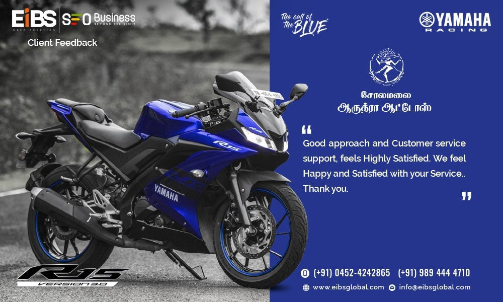 !!! Happy Client !!!  Thanks to Aruthra Autos for your Valuable Feedback regarding our Social Media Marketing Service...  #eibsglobal #socialmediamarketingservice #smoservice #happyclient #clienttestimonials #customerfeedback #aruthraautos #bikeshowroom pic.twitter.com/Z3aXthwwpp
