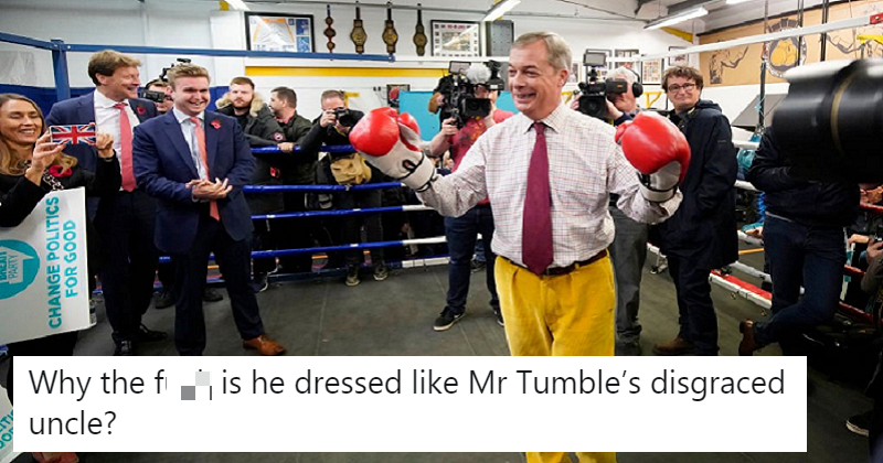 Nigel Farage had a photo-op in a boxing ring – the only six haymakers you need to see. thepoke.co.uk/2019/11/08/nig…