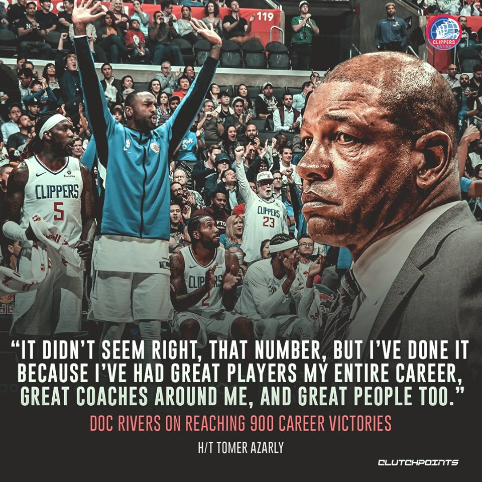 Doc Rivers is thankful for the players and coaches around him who helped him reach those wins 🙌 #Clippers #NBA #NBATwitter