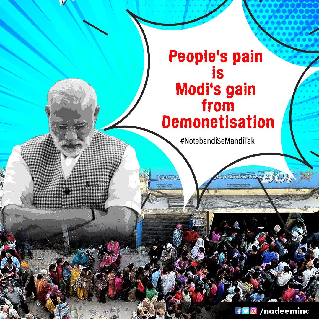 On the black day of 8th November 2016, @narendramodi in a arbitrary decision announced the disastrous demonitisation.  The rural economy got crippled.  More than 100 people lost their lives.  Lakhs of informal jobs were lost.  Our country got #NotebandiSeMandiTak. <br>http://pic.twitter.com/eWCNsUXsZw