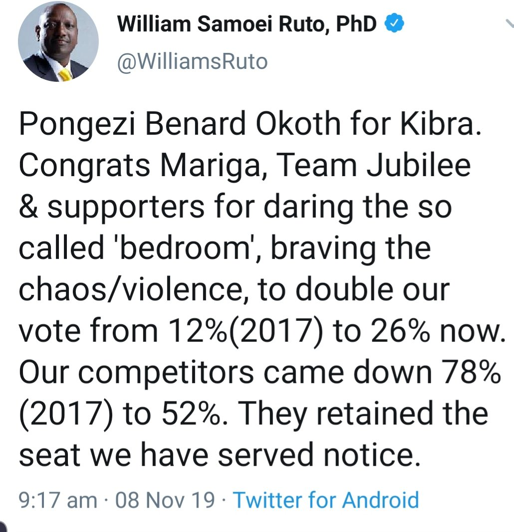 Mr. DP, you are not at liberty to try colour this the way you want. Being a good student of Tinga, I do know you have learnt your lessons however bitter. Now, karibu #BBIKenya tujenge Kenya moja ya kila mtu. Ama namna gani, Sir? #BedroomBully #KibraPolls #ImranOkoth #KibraDecides <br>http://pic.twitter.com/gdtR00Z34K