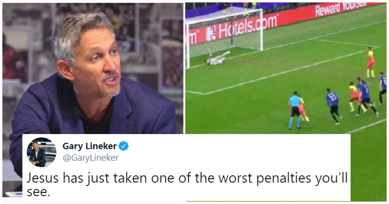 This must be the funniest possible reaction to Gabriel Jesus' terrible penalty kick. thepoke.co.uk/2019/11/08/bes…