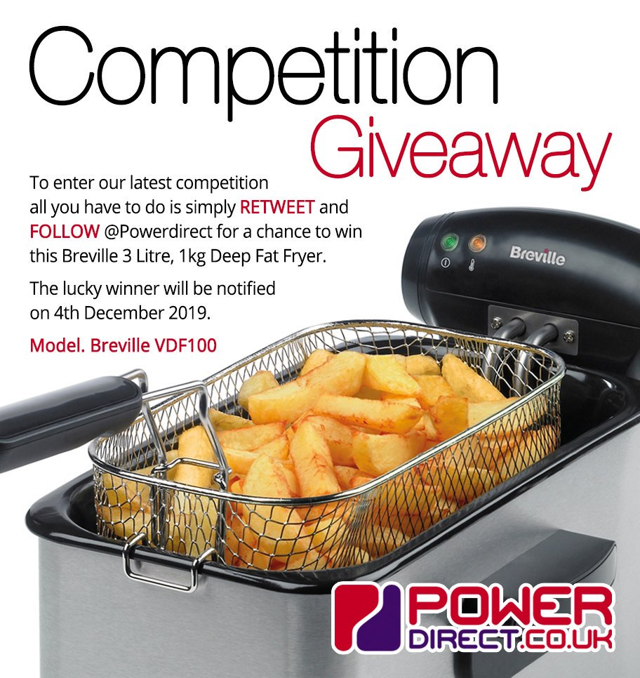 #Free to Enter @PowerDirectUK #Competition #Giveaway... Simply #RT and #Follow for a chance to #Win a Breville 3 Litre Professional Deep Fat Fryer… #FreebieFriday #FridayMotivation #FridayFeeling<br>http://pic.twitter.com/6o4e23L59f