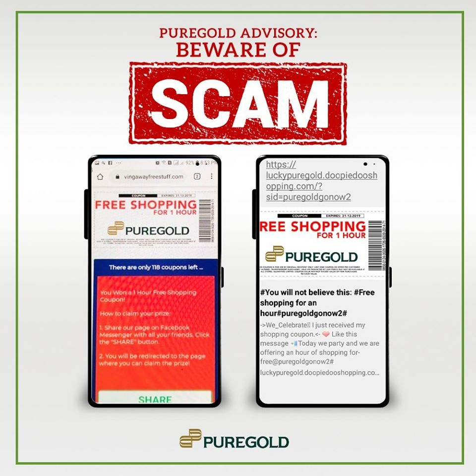 Puregold On Twitter Important Announcement The Website 1 Hour Free Shopping At Puregold Coupon Phishing Activity And Coupon Giveaway Are Not Authorized By Puregold Price Club Inc The Said Shopping Coupons Will