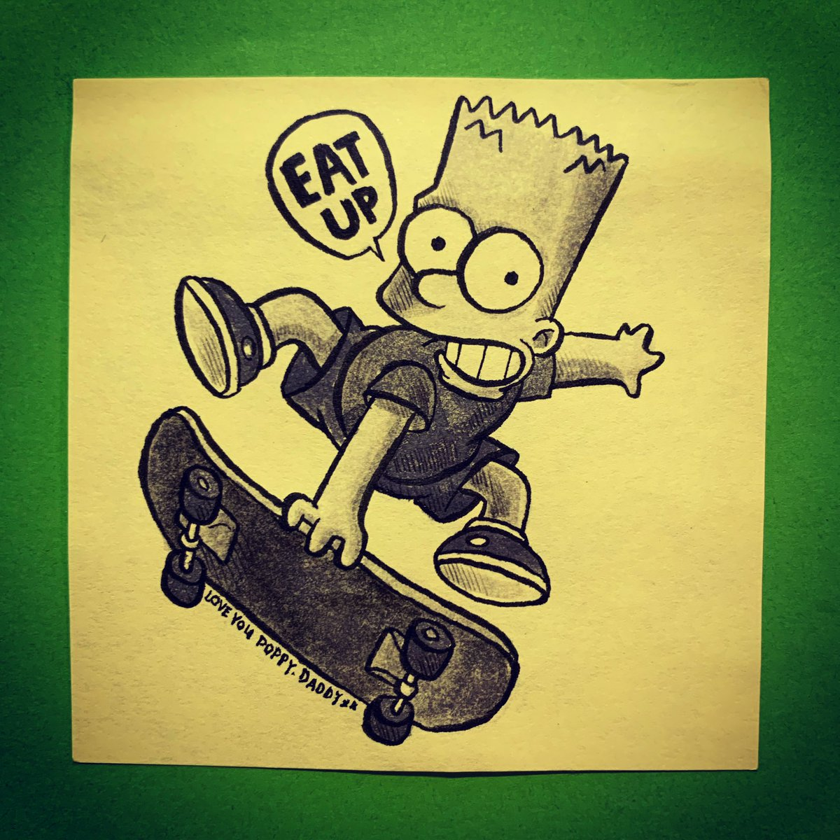 Poppy's final drawing of the week features #PackedLunchPostIt regular Bart Simpson, as requested by Pop's classmate Esmé.