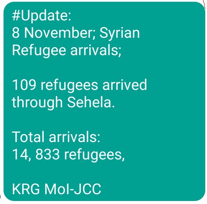 #Update: 8 November; Syrian Refugee arrivals; 109 refugees arrived through Sehela. Total arrivals: 14, 833 refugees, KRG MoI-JCC
