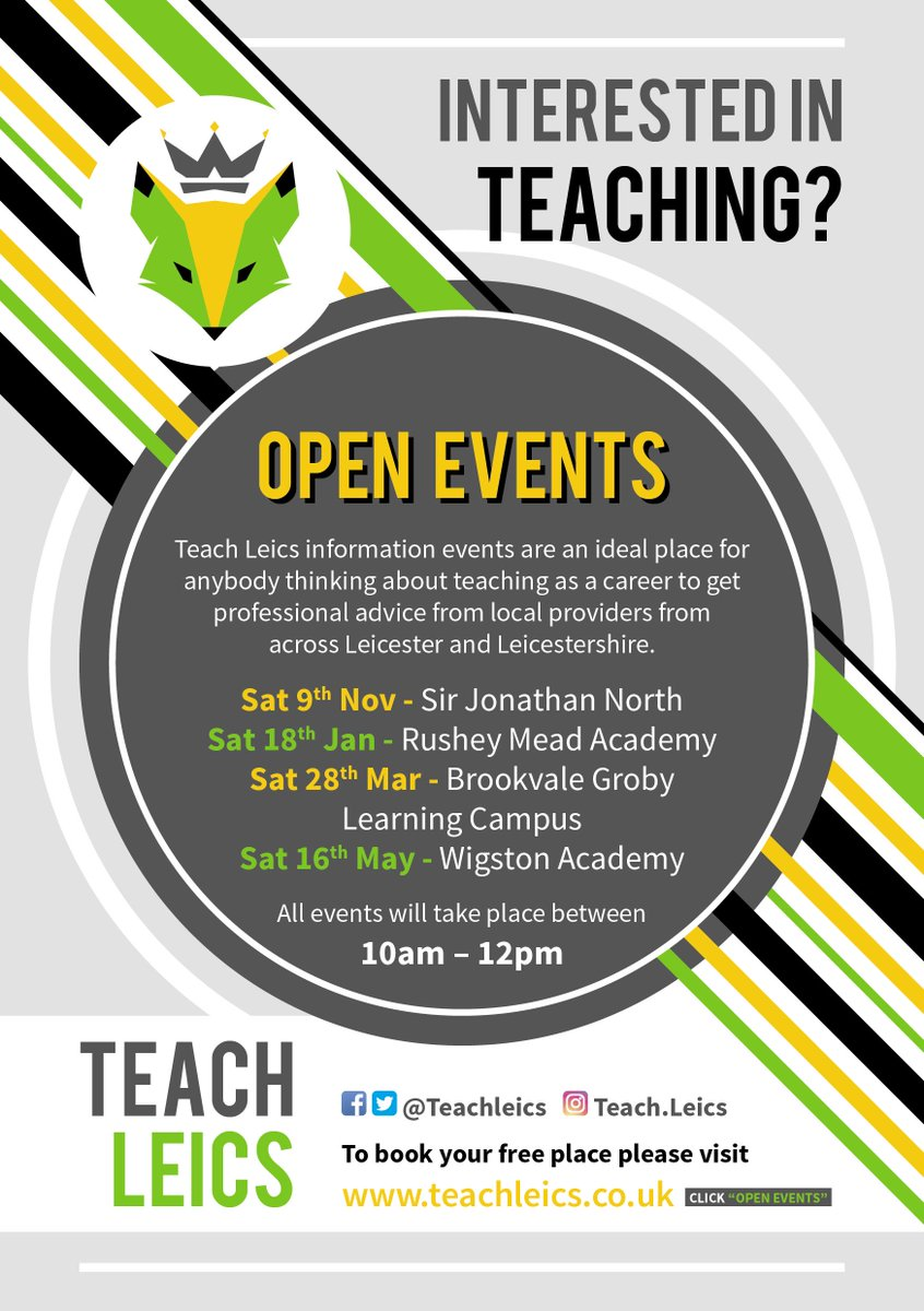 Are you interested in teaching but are not sure where to start?  Why not join us tomorrow morning to meet teacher training providers and find out what's involved.  You could be changing lives from September 2020! #getintoteaching #pgce #teachertraining