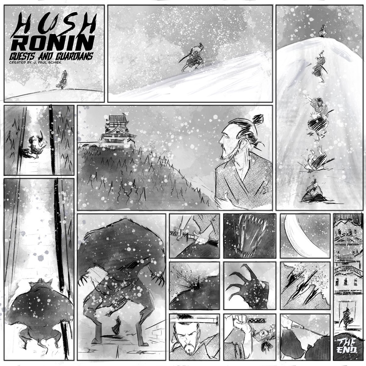 So, I stayed up late doing #homework for my #sequentialart class and made a one page #HushRonin short. @AshcanComicsPub   #art #artwork #artist #samurai #werewolf #comics #comicbooks #makecomics #makingcomics #winteriscoming<br>http://pic.twitter.com/6EWSdeqMds