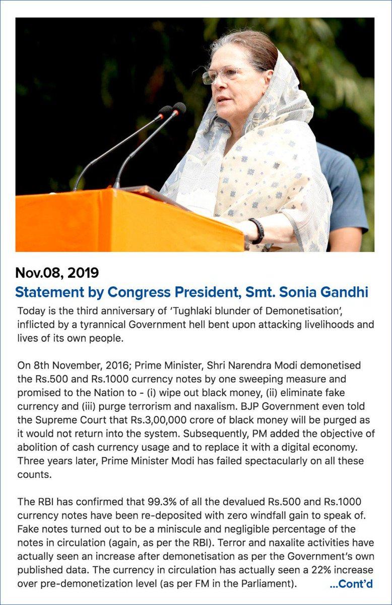 Statement by Congress President Smt. Sonia Gandhi on three years of #DeMonetisationDisaster   #NotebandiSeMandiTak <br>http://pic.twitter.com/NLHmXyp68d