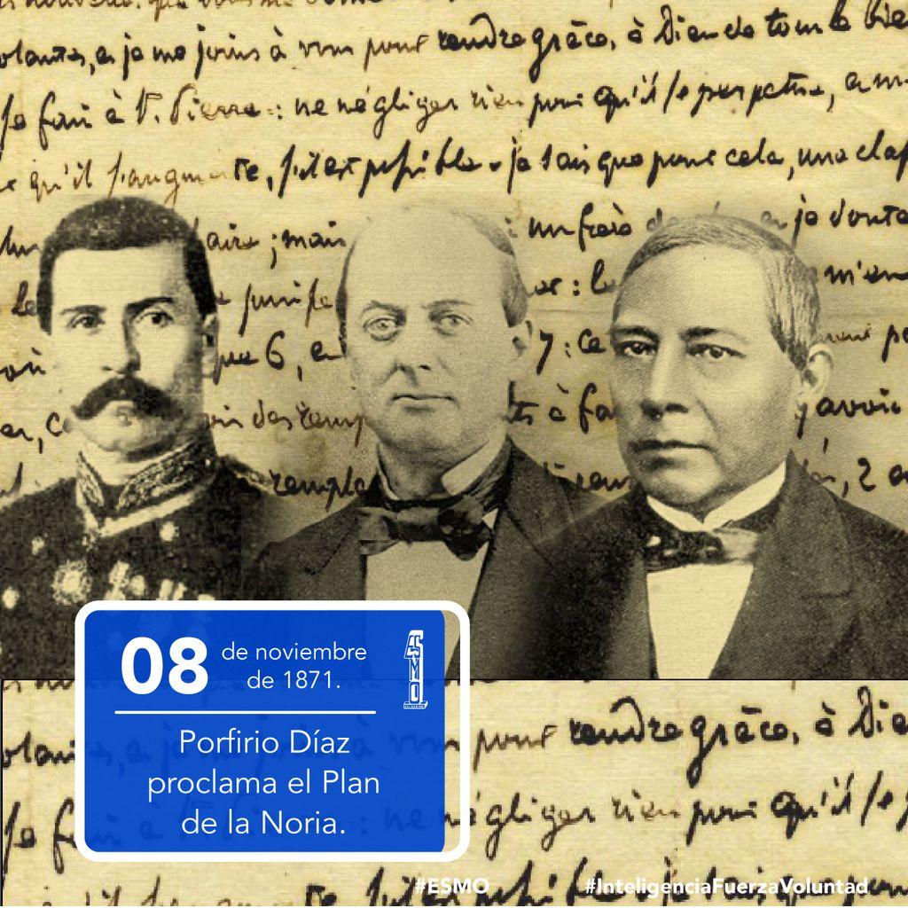 """🗓 08 de noviembre de 1871 📜 Porfirio Díaz proclama el Plan de la Noria con el que se rebela en contra del gobierno de Benito Juárez; su lema es """"No reelección"""".   #ESMO #InteligenciaFuerzaVoluntad #Atlixco #Puebla  #NuevaEscuelaMexicana #EducaciónBásica #AccionesPorLaEducación"""