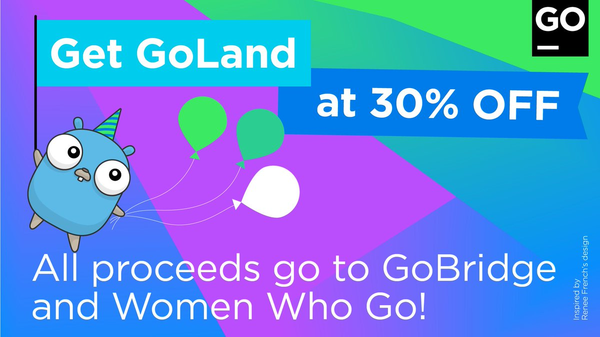Nice opportunity to support the important work of @GolangBridge and @womenwhogo over the next two weeks, Thank you @JetBrains and @GoLandIDE! #GoTurns10 #golang