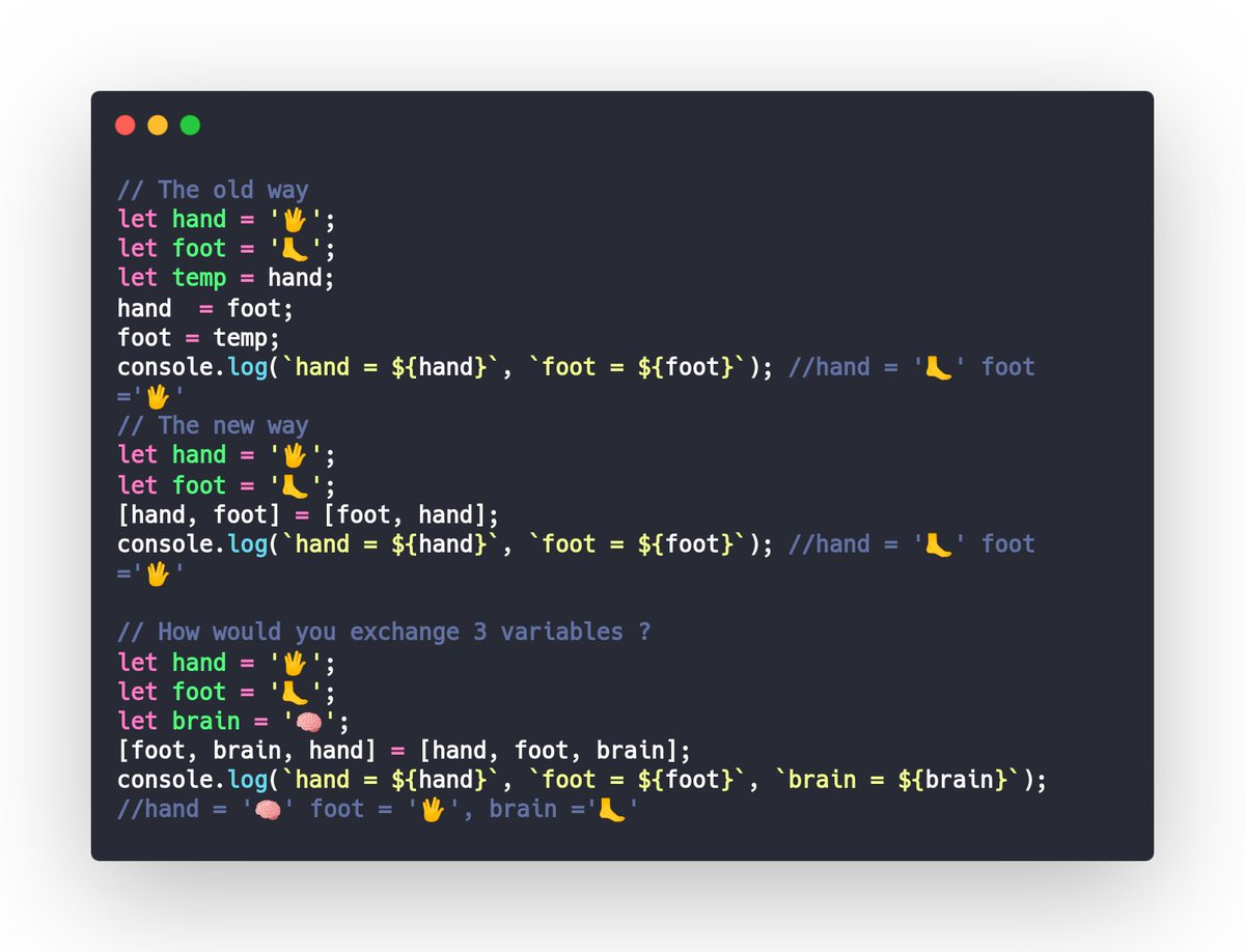 #javascript tips :  How To Swap Two/Three Values Without Temporary Variables Using Destructuring Assignment Array Matching  temp  #javascript #javascript30 #typescript #angular #vue #react #100DaysOfCode #CodeNewbie<br>http://pic.twitter.com/MyzrKJXOM3
