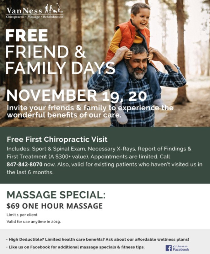 Schedule your first free chiropractic visit today! We also have a $69 massage special running all month long. Call 847-842-8070 or visit us online to schedule.   #chiropractor  #chiropractic  #health  #wellness  #massage  #chiropracticadjustment  #chiro  #lowbackpain  #rehab  #neckpain