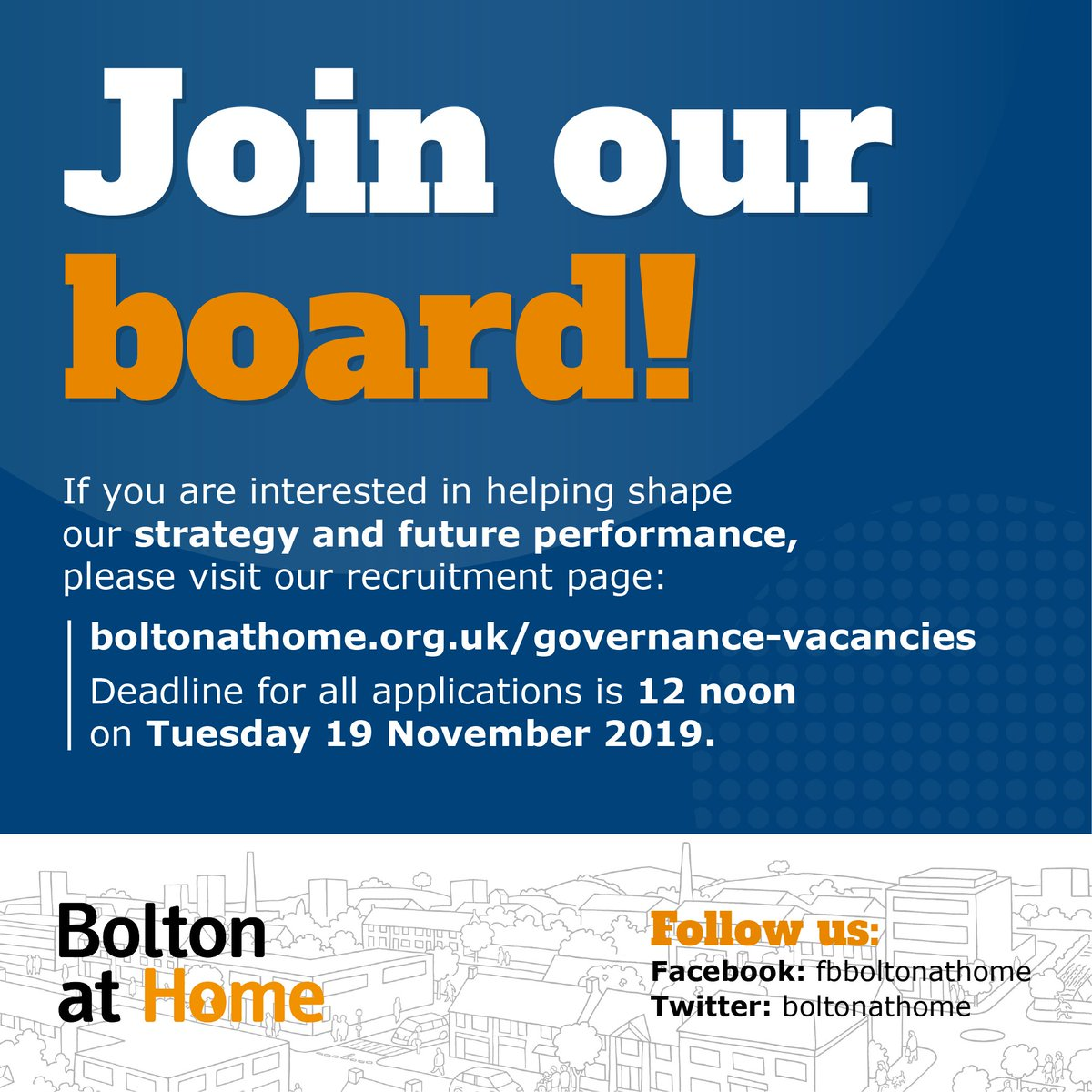 Bolton at Home Group have two Non-Executive Director vacancies! ➡️ If you are interested in helping shape our strategy and future performance, please visit our recruitment page: boltonathome.org.uk/governance-vac… ⌚ The deadline for all applications is 12 noon on Tuesday 19 November 2019.