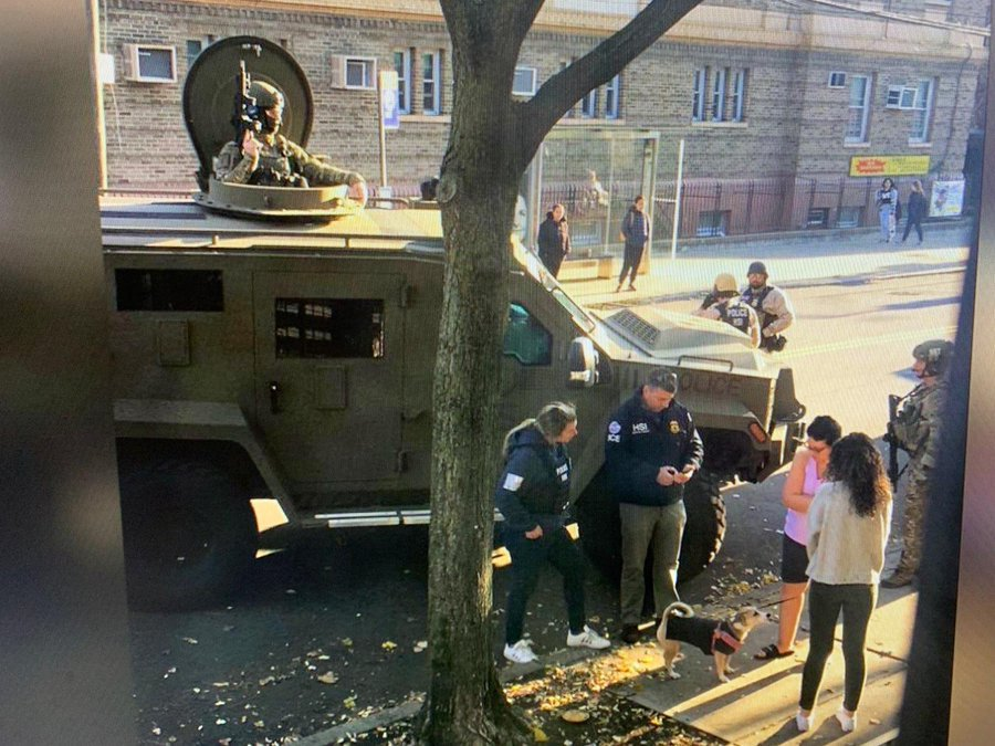 ICE rolled an armored military vehicle. with a gunner in the roof. through an immigrant community in Queens.