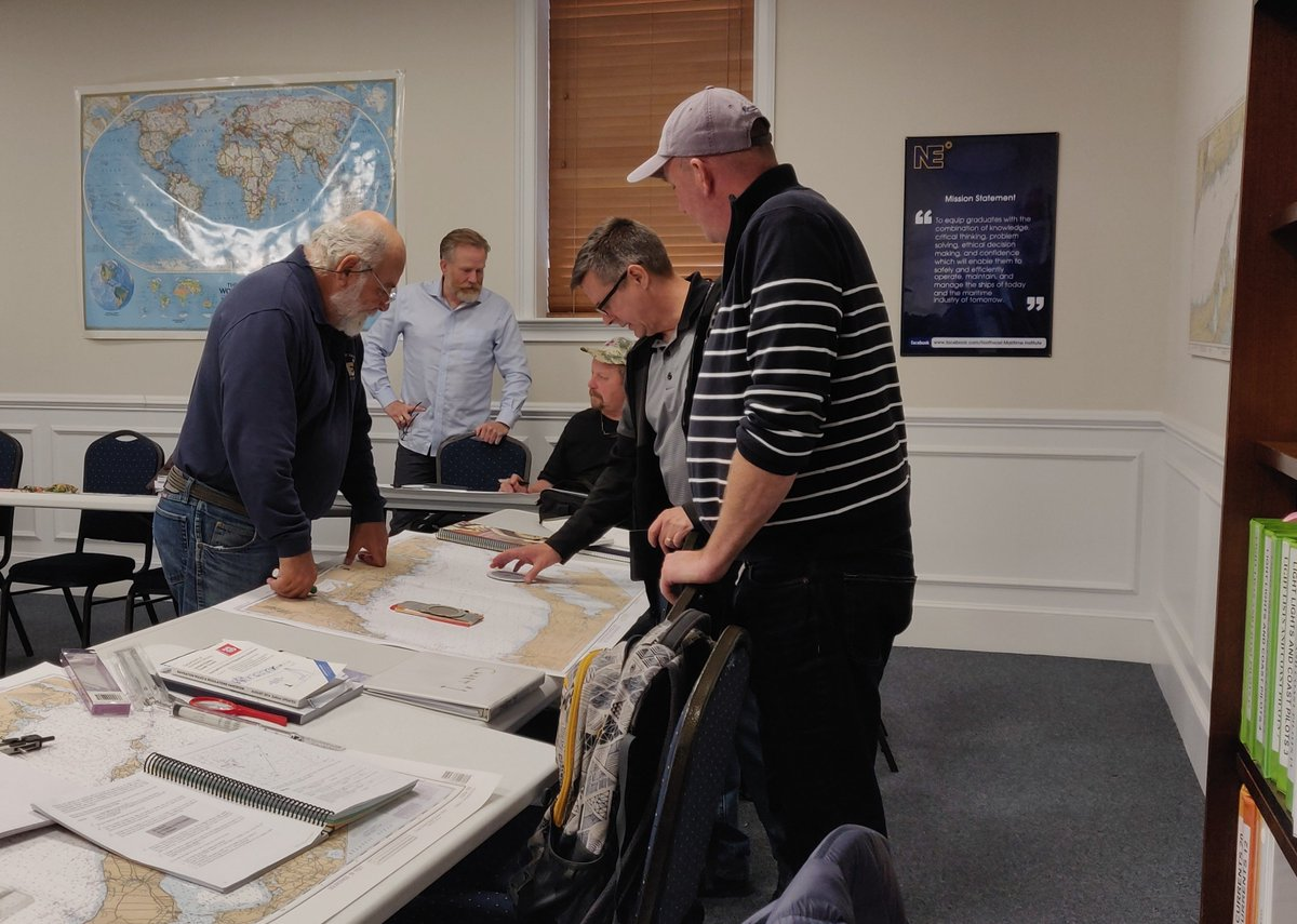 Halfway through OUPV and our faculty and learners are working hard.If you would like to get a Captain's License, join us for our next class.Our entire class schedule can be found on https://maritimetraining.northeastmaritime.com/courses/or call 508-992-4025 to inquire.#honorthemariner #captain #NMI