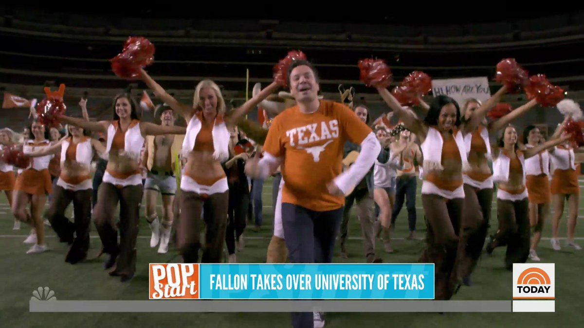 .@jimmyfallon  is going back to college! He packed up @FallonTonight  and brought the show to the University of Texas where he made a grand entrance with the marching band and of course, his guests were Texas themed as well.