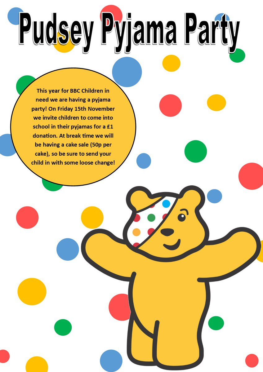 This year for @BBCCiN we are having a a Pudsey Pyjama Party, children are invited to come into school in their pyjamas on the 15th of November. We will have lots of snacks and cakes available for children to buy. Baked by some of our wonderful staff and PTFA! #ChildrenInNeed