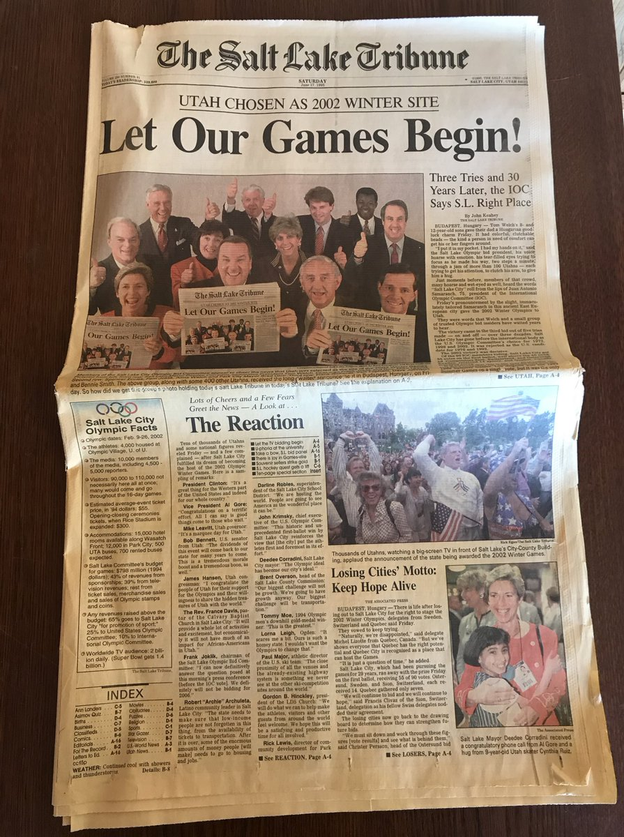 """""""Three Tries and 30 Years Later, the IOC Says S.L. Right Place."""" Unearthed this June 1995 edition of the @sltrib today - featuring the lead story on Utah being awarded the 2002 Olympic Winter Games!"""