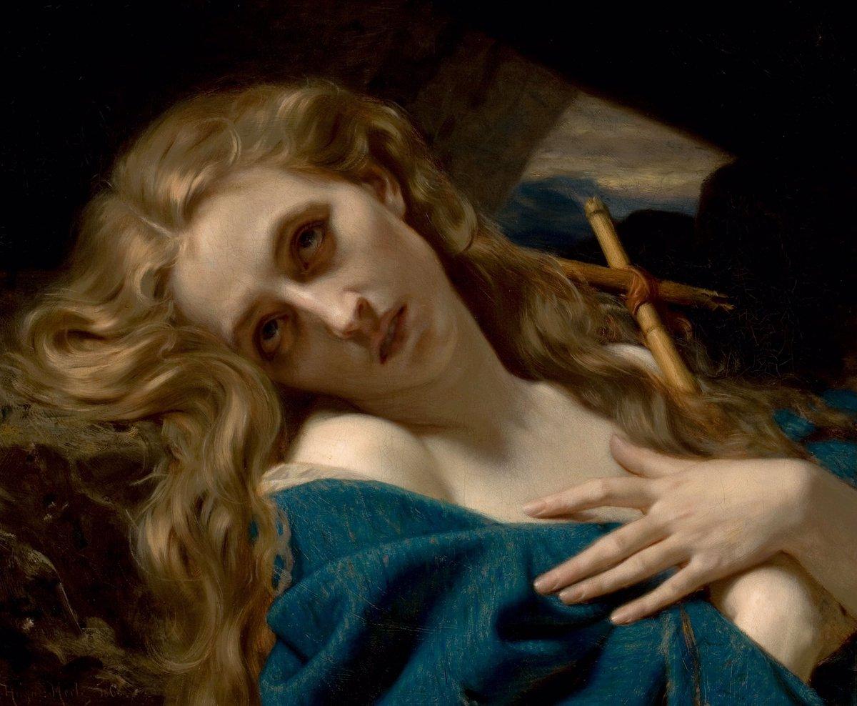 """Ο χρήστης Historia del Arte στο Twitter: """"""""Maria Magdalena en la cueva"""" es  un óleo academicista de Hugues Merle de 1868. Una pintura profunda y  atrayente. El fondo oscuro resalta la piel"""