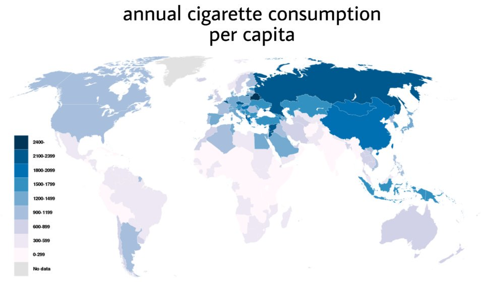 Map shows annual cigarette consumption per capita. The global East is smoking the most. Source: buff.ly/2pRciBE
