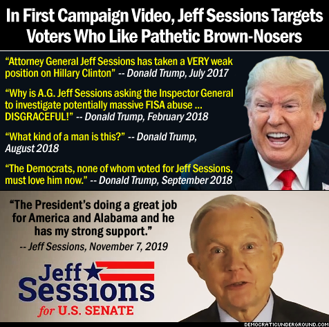 In first campaign video, Jeff Sessions targets voters who like pathetic brown-nosers