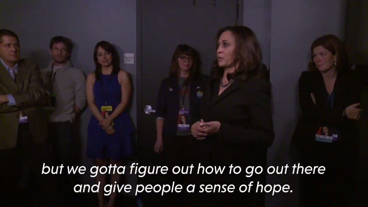 This is Kamala Harris talking to her staff after Trump won the election (and she won hers)  Tomorrow — Trump is evicted from the WH and she moves in.