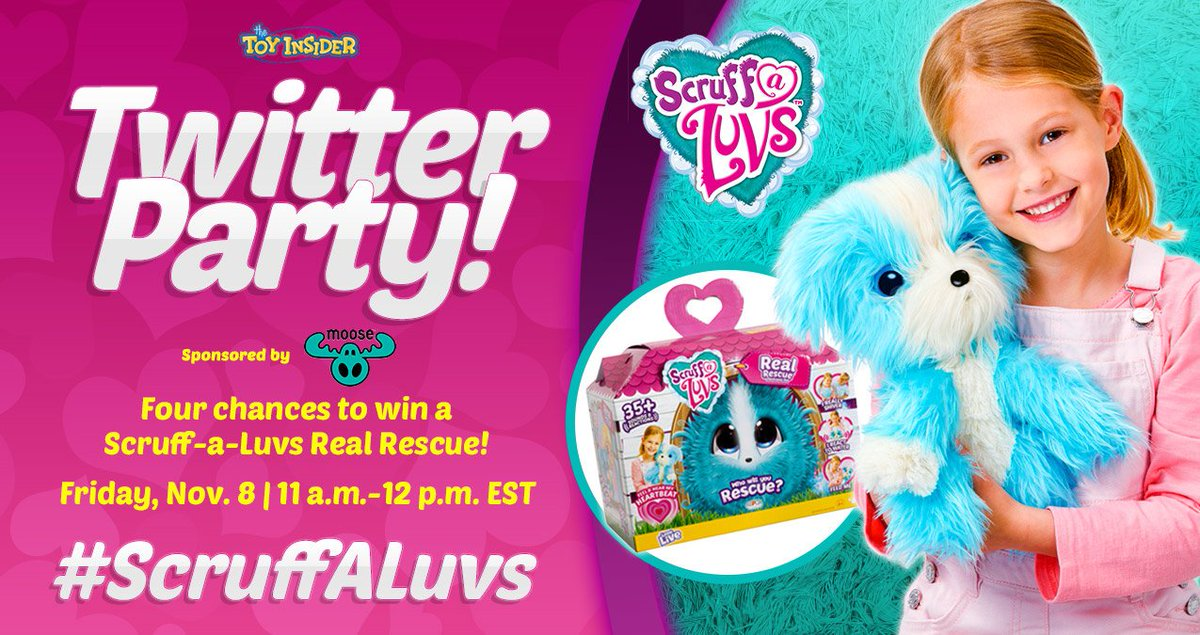 Who let the dogs out?? 🐶🐶 We're so excited to party with @Moose_Toys to show off the doggone cute #ScruffaLuvs Real Rescue pups and kitties in our Twitter Party, coming up in 15 min.! RSVP here:
