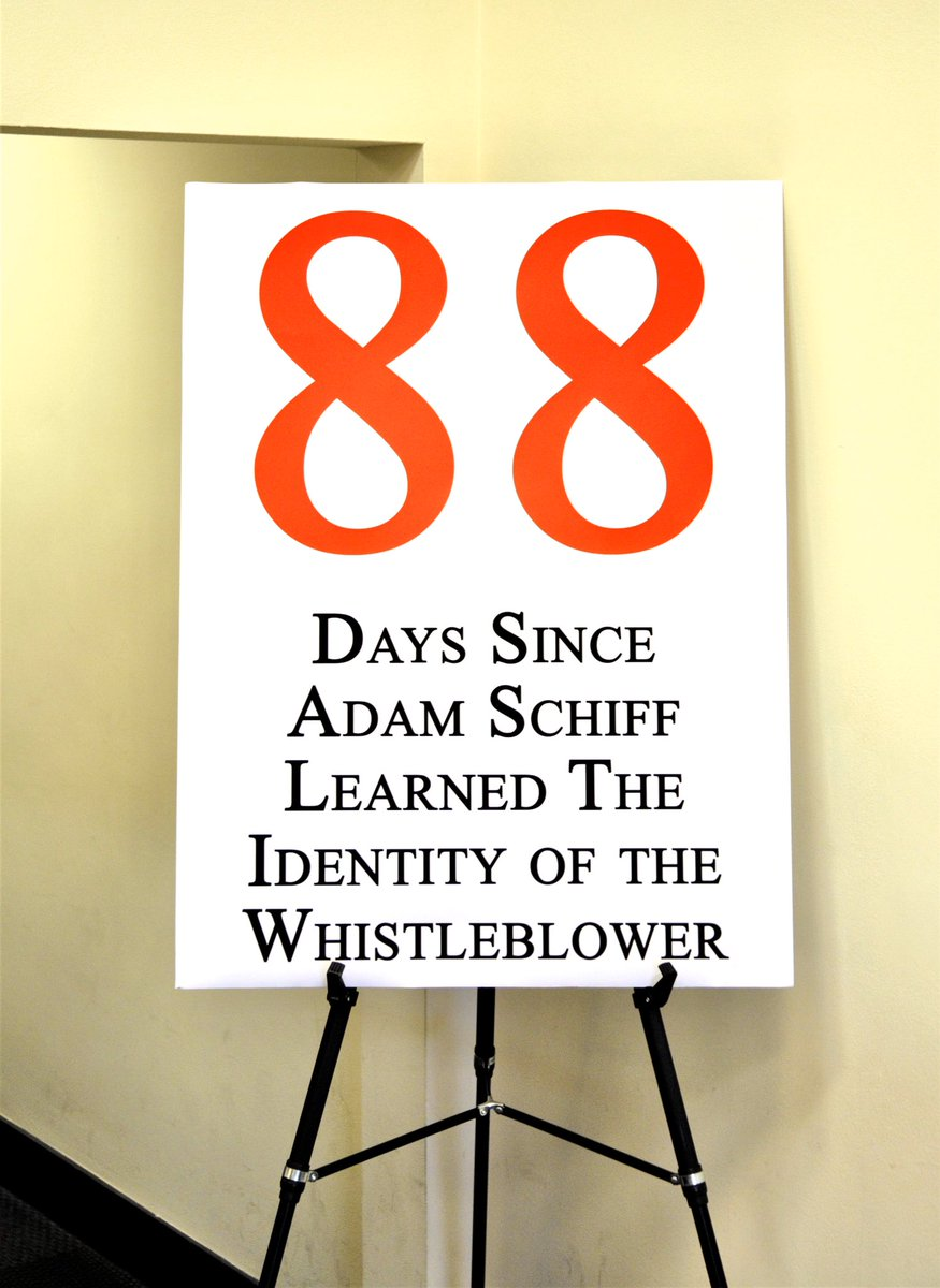 Replying to @GOPoversight: Days since @RepAdamSchiff learned the identity of the whistleblower: 88