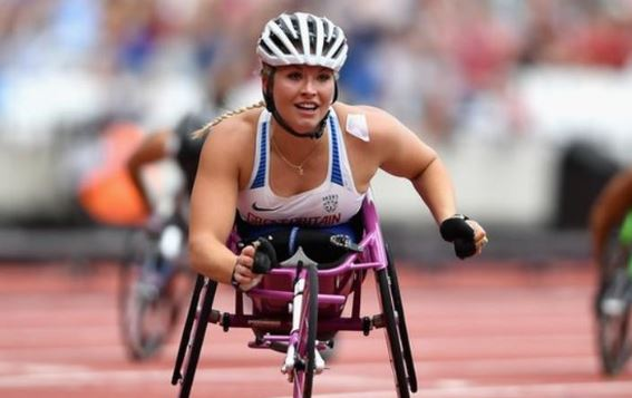 British wheelchair racer Sammi Kinghorn wins bronze in the T53 100m at the World Para-Athletics Championships in Dubai.Report: https://bbc.in/34JaWrG