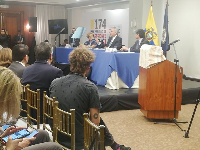 En la inauguración del 174 período de sesiones de la CIDH, el presidente Lenín Moreno sostiene que entre el 3 y 13 de octubre hubo un intento de golpe de Estado y violación de DD.HH. a policías y ciudadanía.
