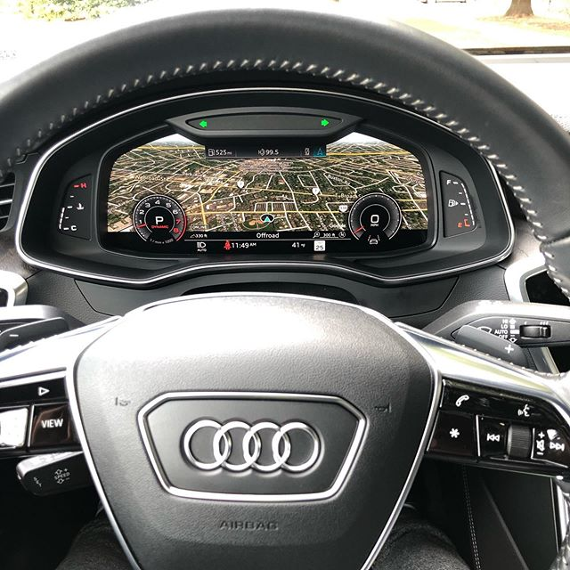 """audi does technology very well. The new #AudiA7 has three screens (12"""", 10.2"""", and 8.6"""") with some of the sharpest resolution you'll find in the business. Plus an amazing 3D camera system that would make you feel like a fool if you hit something while parking. Wireless Apple Car"""