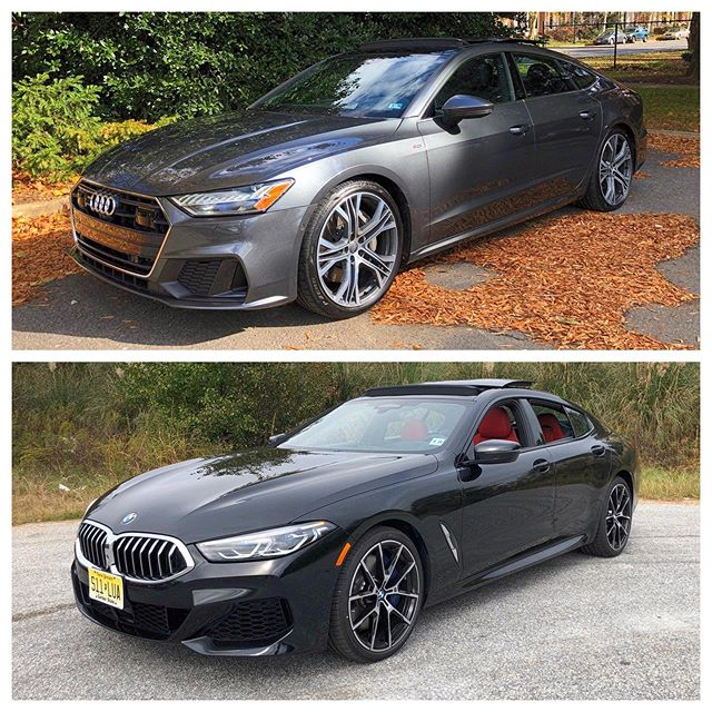 How does one possibly decide between both of these beautiful sedans?! Tell us below which team you are! #TeamAudi #TeamBMW #AudiA7 #840iGranCoupe #8seriesGranCoupe #A7Sportback