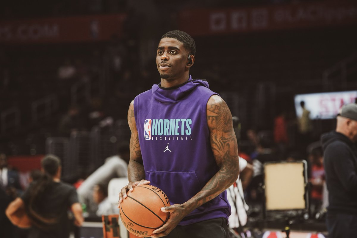 """Dwayne Bacon, starting SG for the @hornets, is equal parts designer & model. This year he took his first steps on the runway at @GrungyGentleman's #NYFW show. Now he's building his brand """"Bad Section.""""  Get to know @BaconDwayne1000 in our """"Style Stories"""": https://t.co/B0mSHV9VEu https://t.co/143lfZom8D"""