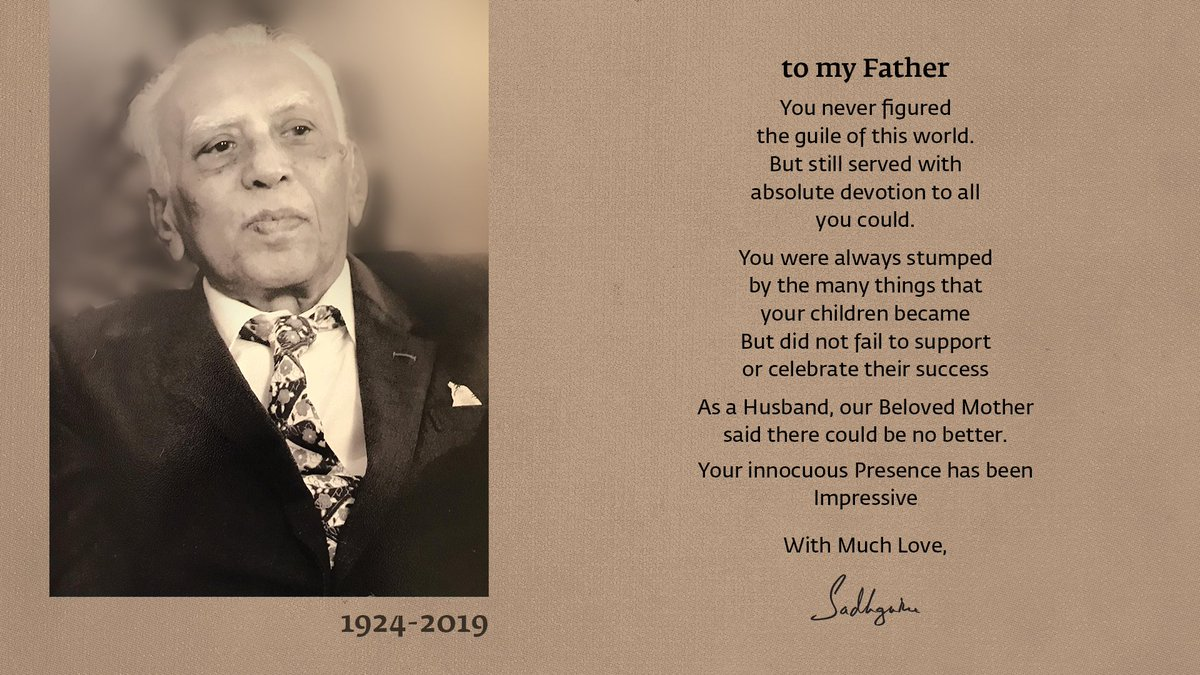 1/2 to my Father You never figured the guile of this world. But still served with absolute devotion to all you could. You were always stumped by the many things that your children became But did not fail to support or celebrate their success