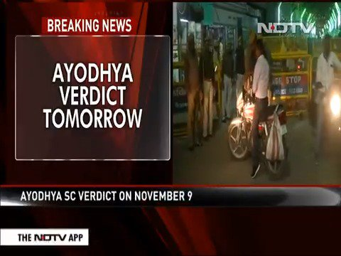 Security tightened ahead of #AyodhyaVerdict. Read more here: https://www.ndtv.com/india-news/supreme-court-verdict-in-ayodhya-temple-mosque-title-suit-tomorrow-2129598…