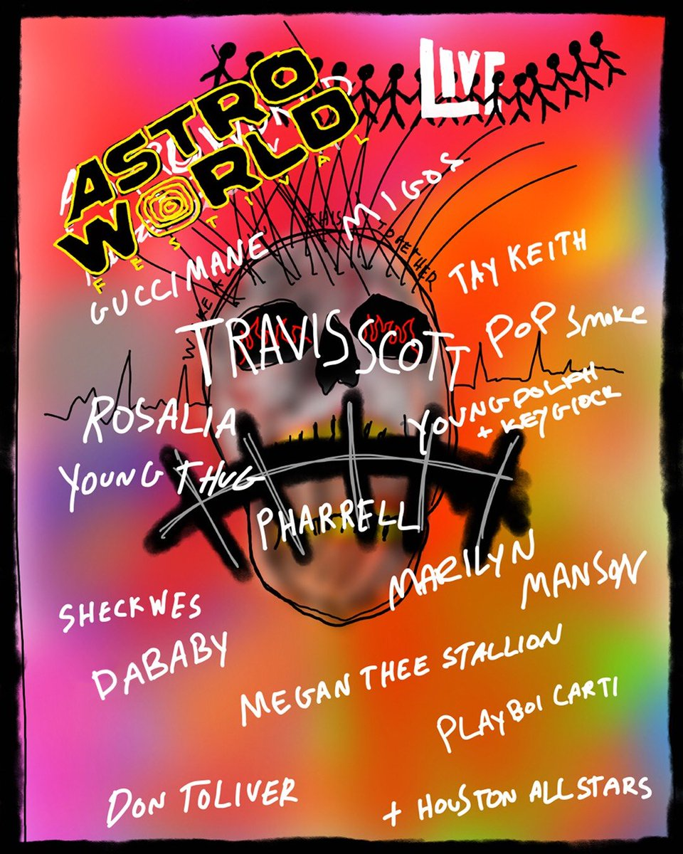 Travis Scott announces Astroworld lineup 🎪  👤 Migos 👤 Marilyn Manson 👤 Pharrell 👤 Rosalía 👤 Young Thug 👤 Playboi Carti 👤 Gucci Mane 👤 DaBaby 👤 Megan Thee Stallion 👤 Houston All Stars 👤 Young Dolph, Key Glock 👤 Sheck Wes 👤 Pop Smoke 👤 Don Toliver 👤 Tay Keith
